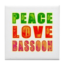Peace Love Bassoon Tile Coaster