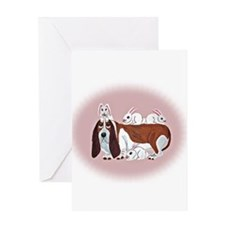 Basset Hound With Bunny Friends Greeting Card