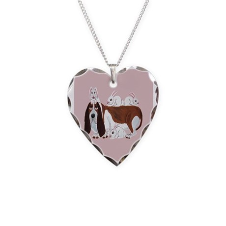 Basset Hound With Bunny Necklace Heart Charm