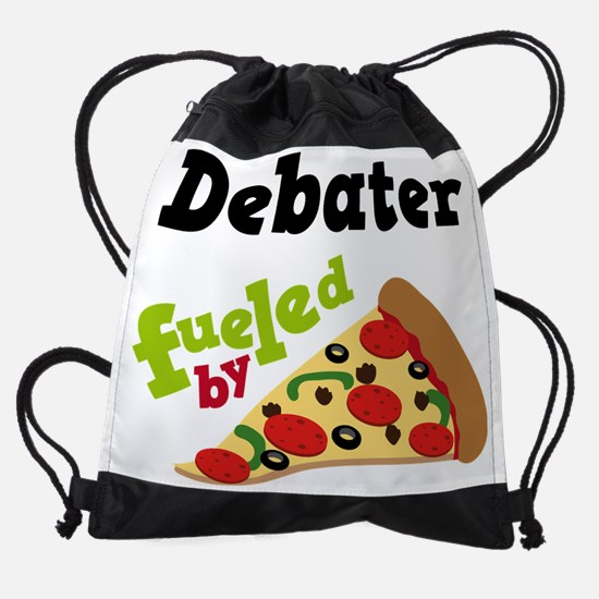 Debater Fueled By Pizza Drawstring Bag
