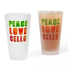Peace Love Cello Drinking Glass