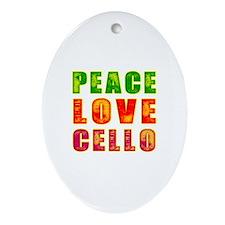 Peace Love Cello Ornament (Oval)