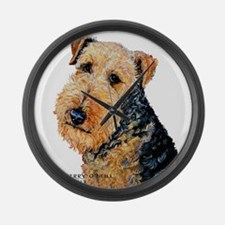 Airedale Terrier Portrait Large Wall Clock