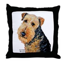 Airedale Terrier Portrait Throw Pillow