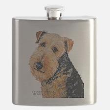 Airedale Terrier Portrait Flask