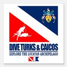 "Dive Turks and Caicos Square Car Magnet 3"" x 3"""
