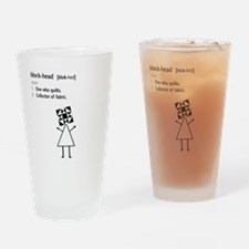 Block-head Drinking Glass