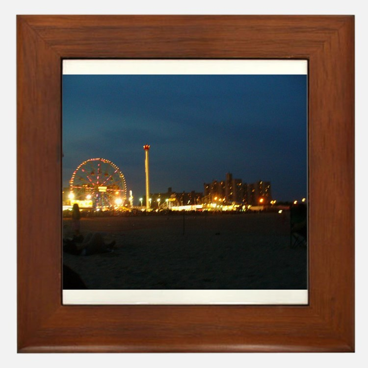 Coney Island at Night Framed Tile