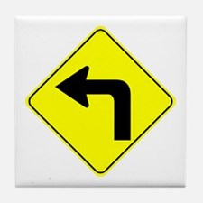 Left Turn Ahead Tile Coaster