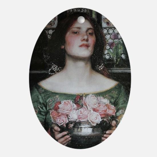 Gather Ye Rosebuds by Waterhouse Ornament (Oval)