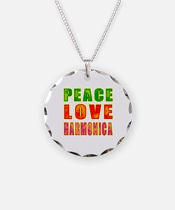 Peace Love Harmonica Necklace