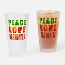 Peace Love Harmonica Drinking Glass