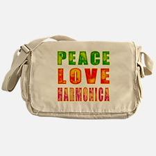 Peace Love Harmonica Messenger Bag
