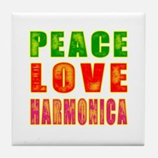Peace Love Harmonica Tile Coaster