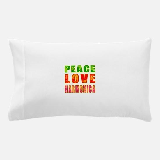 Peace Love Harmonica Pillow Case