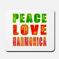 Peace Love Harmonica Mousepad