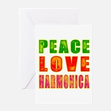 Peace Love Harmonica Greeting Card
