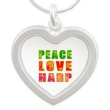 Peace Love Harp Silver Heart Necklace