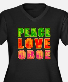 Peace Love Oboe Women's Plus Size V-Neck Dark T-Sh