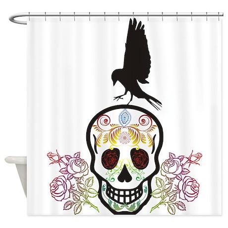 sugar skull shower curtain by uterueger. Black Bedroom Furniture Sets. Home Design Ideas