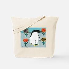 Penguin Flowers Tote Bag
