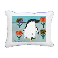 Penguin Flowers Rectangular Canvas Pillow