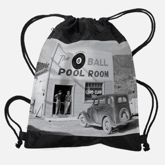 The Eight Ball Pool Room, 1940 Drawstring Bag