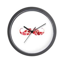 Cute moustache with hearts Wall Clock