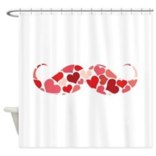 Cute moustache with hearts Shower Curtain
