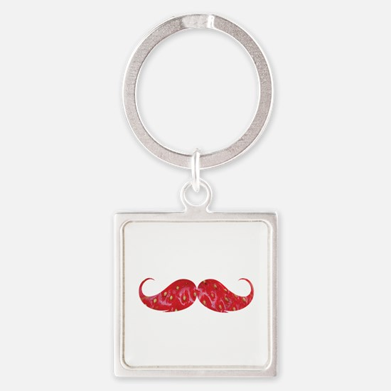 Strawberry moustache Square Keychain