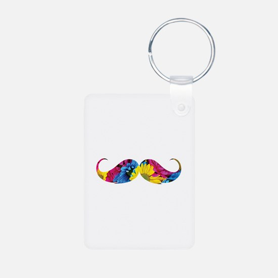 Flower moustache Aluminum Photo Keychain