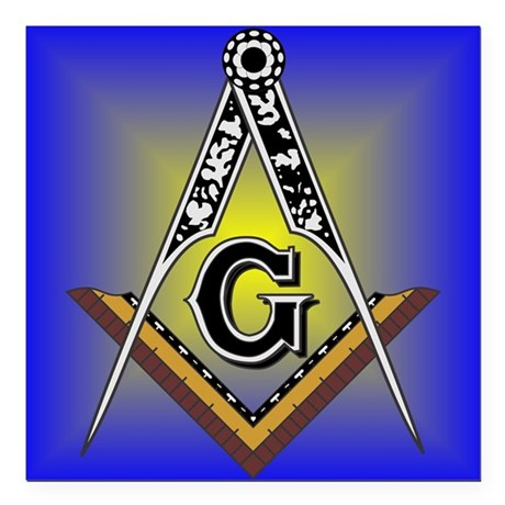 "Masonic Square and Compass Square Car Magnet 3"" x"