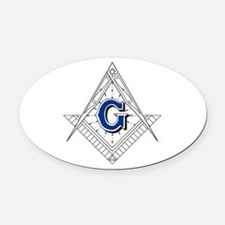 Fancy Square and Compass Oval Car Magnet