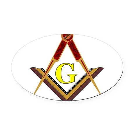 Traditional Square and Compass Oval Car Magnet