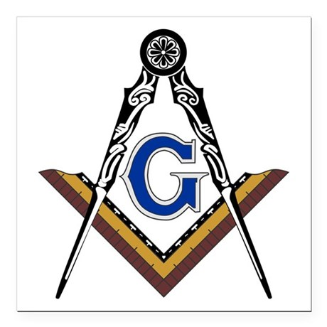 """Masonic And Compass Square Car Magnet 3"""" X 3&"""