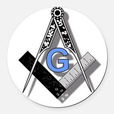 Masonic Square and Compass #2 Round Car Magnet