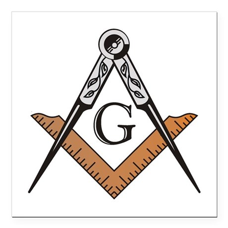 Masonic Square and Compass Square Car Magnet 3&quo