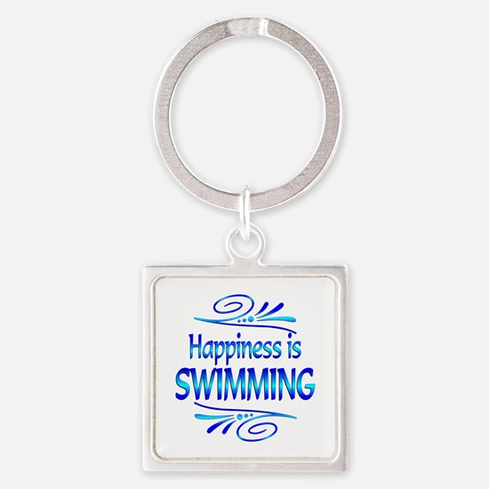 Happiness is Swimming Square Keychain