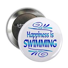 """Happiness is Swimming 2.25"""" Button"""