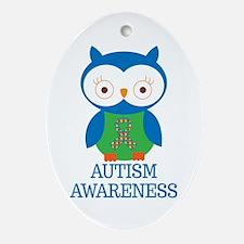 Autism Awareness Owl Ornament (Oval)