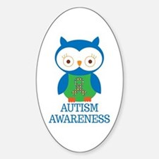 Autism Awareness Owl Sticker (Oval)