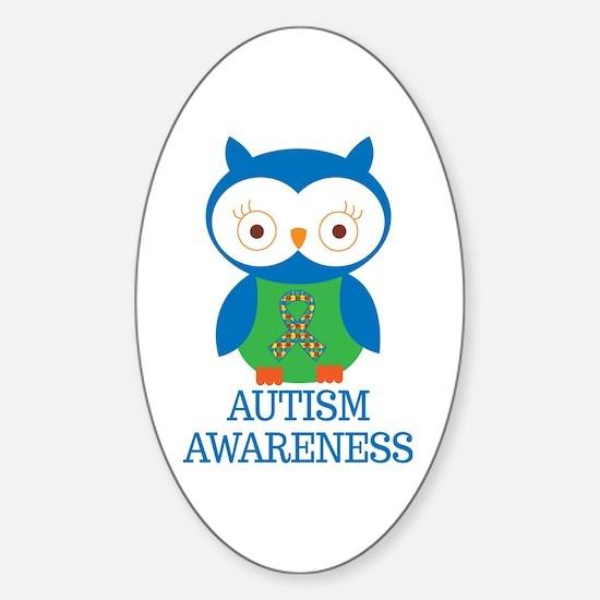 Autism Awareness Owl Sticker (Oval)
