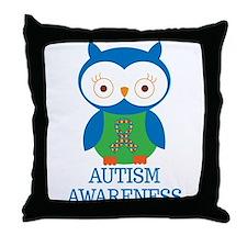 Autism Awareness Owl Throw Pillow