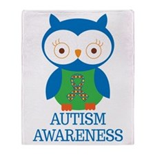 Autism Awareness Owl Throw Blanket