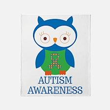 Autism Awareness Owl Throw Blanket