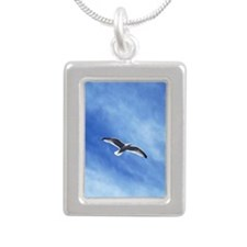 flying sea-gull Silver Portrait Necklace