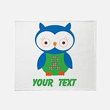 Personalized Autism Owl Throw Blanket