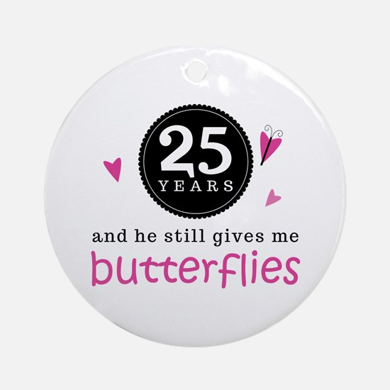 25th Anniversary Butterflies Ornament (Round)