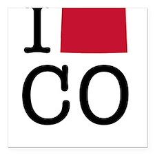 """I Love Colorado Square Car Magnet 3"""" x 3"""""""