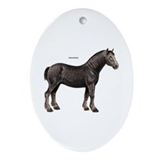 Percheron Horse Ornament (Oval)
